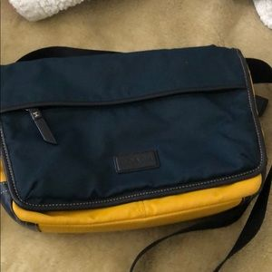 Blue and yellow Coach bag